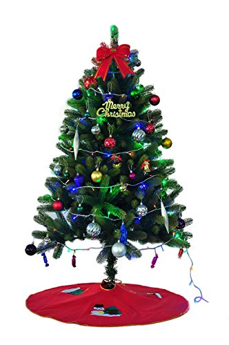クリスマスツリーセット 150cm 高級品質クリスマスツリー Christmas tree 150センチ ツリー オーナメントセット付き プレゼント クリスマスグッズ イルミネーション ツリースカート付き アニメ専線 (クリスマスツリーセット(多彩LED1本+ツリースカートqun1))