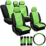 OxGord 17pc Leatherette Seat Cover Set, Airbag Compatible, for SUZUKI FORSA, Green & Black