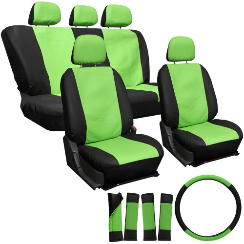 OxGord 17pc Leatherette Seat Cover Set, Airbag Compatible, for SATURN ION 1, Green & Black (Saturn Ion Wheel Cover compare prices)