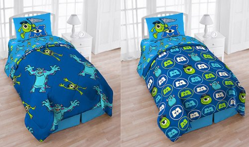 Disney/Pixar Monsters University 4-Piece Reversible Twin Bedding Set: Comforter, Fitted/Flat Sheets, Pillowcase And Bonus Tote front-365743