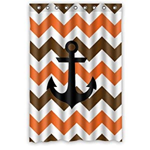 Chevron Shower Curtains Orange And Brown Chevron Anchor Shower Cu