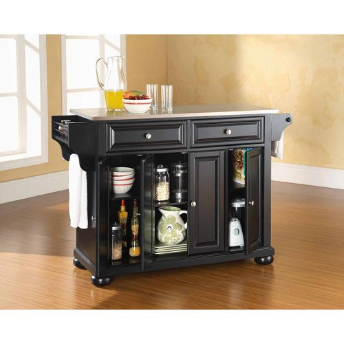 Fabulous Alexandria Stainless Steel Top Kitchen Island Hand rubbed multi step finish