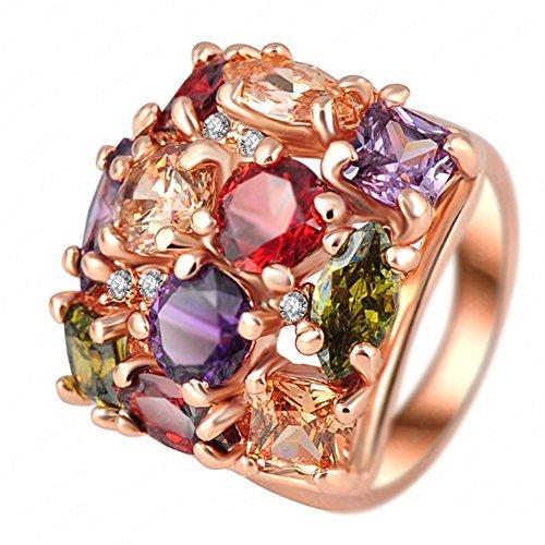 """RI06003C1-10 """"Dazzling"""" Austrian Crystal 18K Ring"""