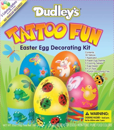 Contains: 38 Tattoos, 1 applicator, 9 paper egg stands, 5 coloring tablets,