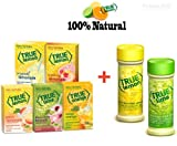 True Lemon Assorted Beverage Pack: (5boxes 10ct each) True Lemon Original Lemonade, True Peach Lemonade, True Black Cherry Limeade, True Mango Orange and True Raspberry Lemonade. Assorted True Lemonade Drink Mixes with optional BONUS Lemon &/or Lime Shaker.