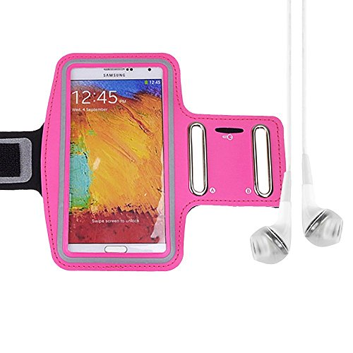 Rose Adjustable Neoprene Workout Armband For Samsung Galaxy Note 3 / Galaxy S5 / Lg Optimus G Pro + Vangoddy Headphone With Mic , White