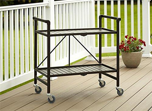 Indoor Or Outdoor Folding, Metal, Rolling Serving Cart