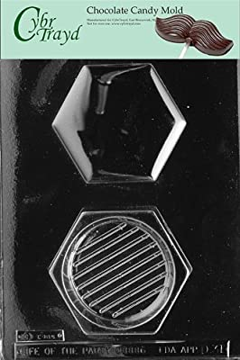 Cybrtrayd D031 Hexagon Pour Box Chocolate Candy Mold with Exclusive Cybrtrayd Copyrighted Chocolate Molding Instructions