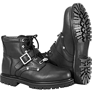 River Road Crossroads Buckle Men's Leather Cruiser Motorcycle Boots - Black / Size 11