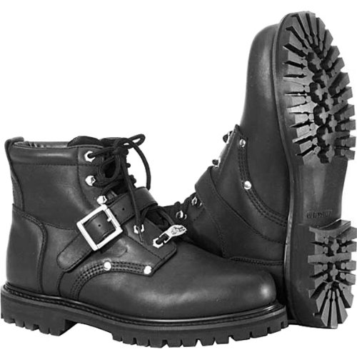 River Road Crossroads Buckle Men's Leather Cruiser Motorcycle Boots - Black / Size 12