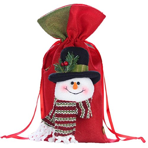 Ikevan 2017 Christmas Santa Snowman Elk Gifts Sack Bags Christmas Color Red Candy Stocking Filler- Christmas Day Decoration 37x20cm (B)
