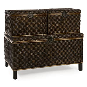 Imax Wilkins Seagrass Trunks Set Of 3 Wicker Coffee Table With Storage