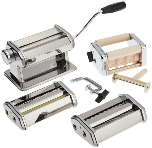 Pasta Maker Deluxe Set By Cucina Pro -Includes Spaghetti, Fettucini, Angel Hair, Ravioli, Lasagnette Attachments (Pasta Makers compare prices)