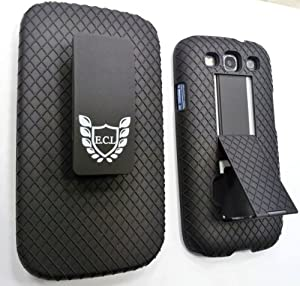 E.C.L USA ® Shell Holster Combo Case for Samsung Galaxy S3 with Kick-Stand (Screen Protector & Cloth) - Black.