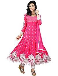 Purva Art Womens New Gajari Cut Work Georgette Shalwar Suit / Dress (PA_Gajari_Embroidery Work_Semi-Stitched Dress)