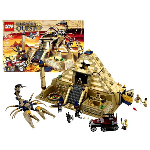 Lego Year 2011 Pharaoh'S Quest Series Set #7327 - Scorpion Pyramid With Giant Scorpion, Armored Atv, 7 Minifigures (Jake Raines, Mac Mccloud, Professor Archibald Hale, Pharaoh Amset-Ra, 2 Anubis Guards And Flying Mummy) Plus Lots Of Accessories (Total Pie