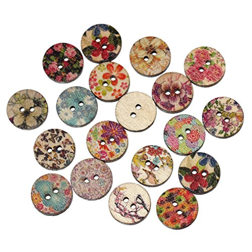 Souarts Mixed Random Flower Round 2 Holes Wood Wooden Buttons for Sewing Crafting 15mm Pack of 200 (Buttons For Sewing And Crafting compare prices)