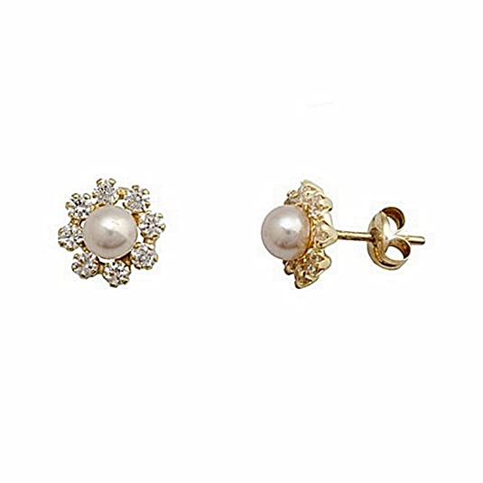 18k gold earrings 4mm cultured pearl border zircons. [6649P]