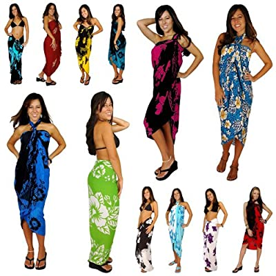 1 World Sarongs Womens Hibiscus Flower Swimsuit Sarong in your choice of color