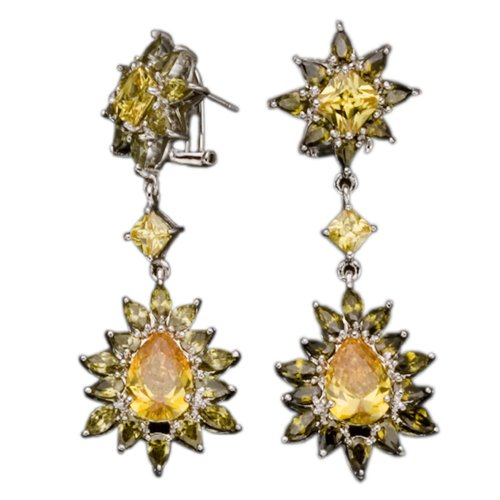Yellow Citrine And Peridot Clip With Post (.925) S/S Earring (Nice Holiday Gift, Special Black Firday Sale)