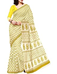 Unnati Silks Women Pure Handloom Rajasthani Cotton Cream Saree