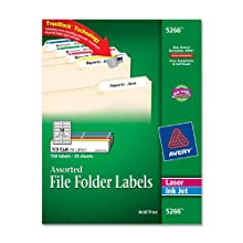 Avery File Folder Labels in Assorted Colors for Laser and Inkjet Printers with TrueBlock Technology, 0.67 x 3.43 Inches, Pack of 750 (05266)