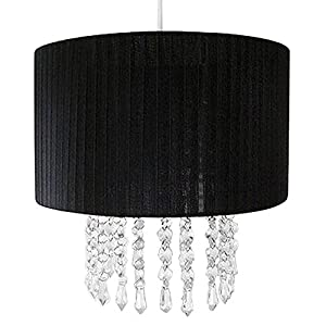 Black Voile Pendant Ceiling Light Shade with Hanging Beads from Beam Feature By Home Discount