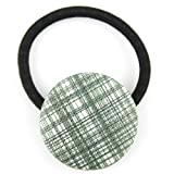 Olive Green White Sparkle Plaid Pleather Fabric Covered Button Hair Elastic