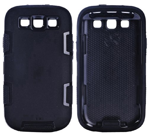 Mylife (Tm) Ninja Black - Classic Robot Armor Series (3 Piece Neo Hybrid Flexi Case + Urban Body Armor Glove) Case For Samsung Galaxy S3 Gt-I9300 And Gt-I9305 Touch Phone (Thick Silicone Outer Gel + Tough Rubberized Internal Shell)