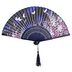 Generic Silk Sakura Butterfly Pattern Hand Fan Japanese Folding Fan Pocket Fan Blue