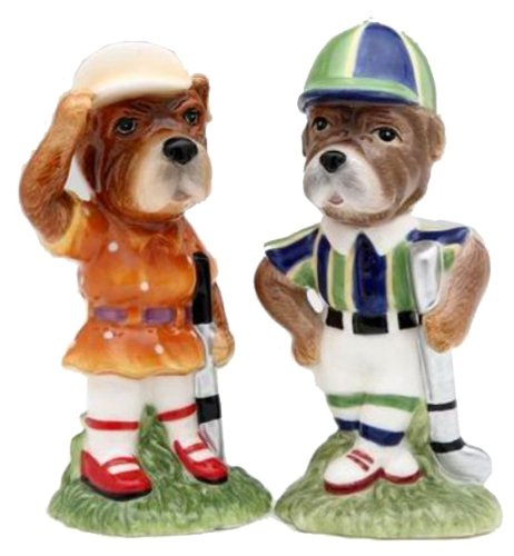 Appletree Design Who Let the Dawgs Out Golf Dog Salt and Pepper Set, 4-1/8-Inch