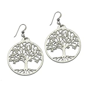 Tree of Life Silver-dipped Earrings on French Hooks