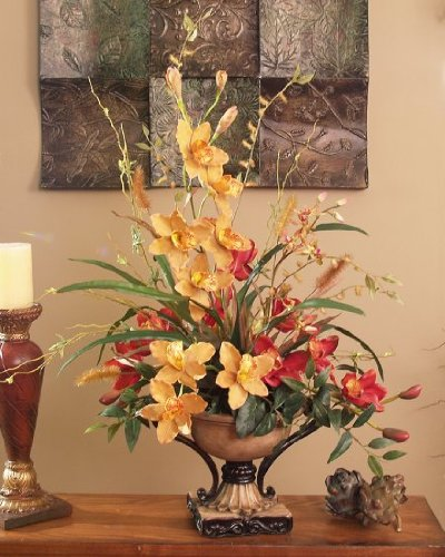 Red and Gold Cymbidium Silk Orchid Arrangement