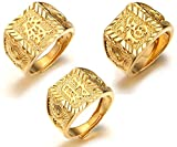 "Halukakah Men's 18K Gold Plated KANJI Ring ""RICH+LUCK+WEALTH"" Set Size Adjustbale with FREE GIftbox"