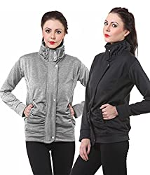 PURYS Black & Lightgrey Fleece Buttoned Sweatshirts Combo of 2