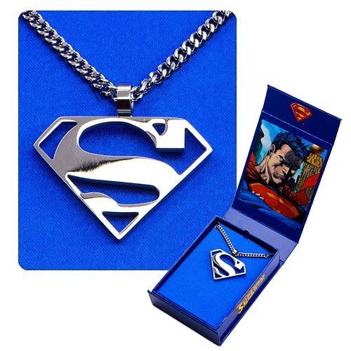 """Superman Logo Cutout """"S"""" Pendant And Chain Necklace"""