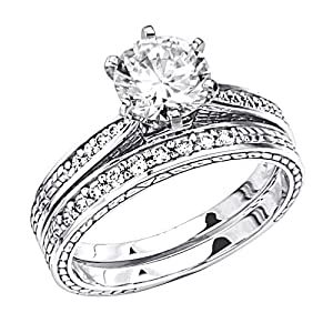 14K White Gold Solitaire CZ Cubic Zirconia High Polish Finish Ladies Wedding Engagement Ring with Round Side Stone and Matching Band 2 Two Piece Sets (Size 4 to 9) - Size 8