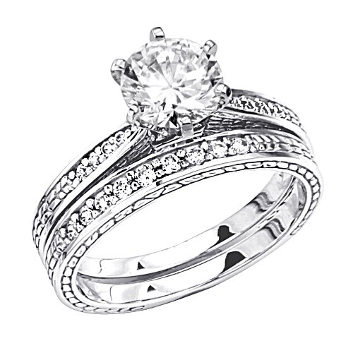 14K White Gold Solitaire CZ Cubic Zirconia High Polish Finish Ladies Wedding Engagement Ring with Round Side Stone and Matching Band 2 Two Piece Sets