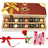 Valentine Chocholik's Belgium Chocolates - An Awesome Treat Of Assorted Truffles With Love Card And Rose