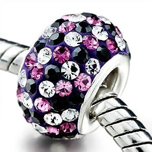 Maman Je T'aime - Pugster Bijoux Drops Femme Charms Violet Rose Noir Blanc Beaucoup Cristal Swarovski Charms Perles- GB_EH46