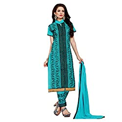 Resham Fabrics Blue Embroidered Cotton Salwar Suit Dupatta Material