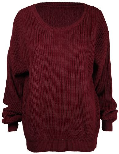 Ladies New Plain Chunky Knit Loose Baggy Oversized Jumper Tops Womens Long Sleeve Knitted Sweater Top Burgundy Maroon Size 12 14