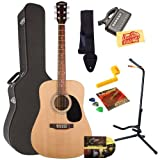 Fender Starcaster Acoustic Guitar Bundle with Hardshell Case, Guitar Stand, Instructional DVD, Strap, Picks, Strings, String Winder, Tuner, and Polishing Cloth - Natural