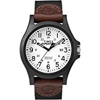 Timex TW4B08200 Men's Expedition Acadia Leather/Nylon Strap Watch (Black/Brown/White)