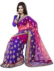 Prafful Net Bhagalpuri Printed Saree With Unstitched Blouse - B00KNUNAX6