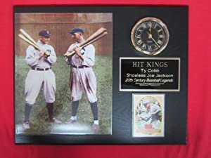 Ty Cobb Shoeless Joe Jackson Collectors Clock Plaque w 8x10 COLORIZED Photo and Card by J & C Baseball Clubhouse
