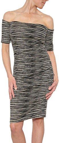 Nicole Miller Women's 3/4 Sleeve Stripe Tuck Dress Size L