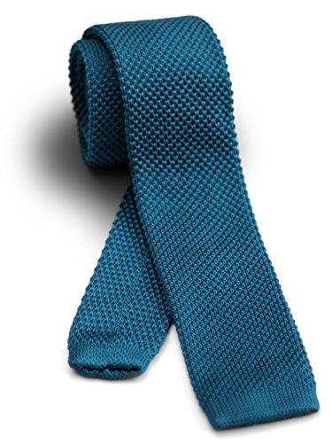 【ダブリューアンドエム】 W&M ニットタイ ナロータイ ネクタイ ビジネス 15色展開 洗濯可能 オーシャン ブルー 青 無地 ソリッド