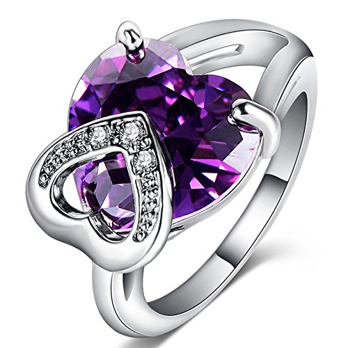 FENDINA Womens Jewelry Elegant Wedding Engagement Bands Ring Heart Amethyst Promise Rings for Her - 18K White Gold Plated - Luxurious Series-FR795