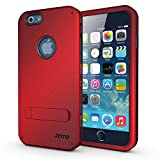 iPhone 6 4.7 Case - JOTO iPhone 6 Hybrid Tri Layer Armor Cover Case with Kickstand (Flexible TPU + double Hard PC), Exclusive for Apple iPhone 6 4.7 inch (2014) (Red, Black)